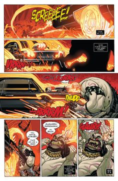 "smillingcartoonist: "" All New Ghost Rider 4 # "" Written by Felipe Smith ( @felipesmithart ), drawn by Tradd Moore, colored by Val Staples! Get ready for the return of Robbie Reyes in GHOST RIDER #1, out November 30th, 2016!"