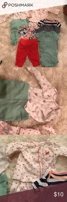 Baby girl clothes newborn bundle Used! Carter's One Pieces Bodysuits