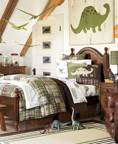Madras Dino Bedroom | Pottery Barn Kids- Think I'm going to do this for my sons room. He loves dinosaurs.