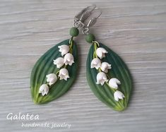 Lily of the valley earrings may-lily earrings May-lily leaves jewelry Woodland earrings Lily jewelry Bridal shower gift Drop floral earrings Sunflower Necklace, Sunflower Jewelry, Floral Necklace, Bridal Necklace, Bridesmaid Earrings, Wedding Earrings, Bridesmaid Gifts, White Earrings, Flower Earrings