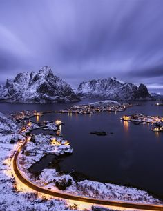 Reine village in a cloudy sunset, Lofoten islands, Norway