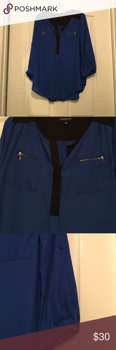 My Michelle 3/4 sleeve shirt My Michelle 3/4 sleeves blouse. Blue and black. Junior L. Can roll up sleeves. Worn once My Michelle Tops Blouses