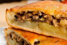 Puff pie with mushrooms and potatoes