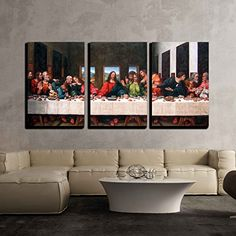 Wall26 - 3 Piece Canvas Wall Art - the Last Supper by Andrea Solari Giclee - Modern Home Decor Stretched and Framed Ready to Hang - 24