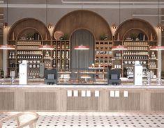 Lorca Coffee&Book interior on Behance Bakery Interior, Coffee Shop Interior Design, Coffee Shop Design, Restaurant Interior Design, Commercial Interior Design, Cafe Design, Commercial Interiors, Deco Restaurant, Modern Restaurant