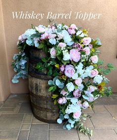 Excited to share this item from my #etsy shop: Whiskey Barrel Flowers, Blush Whiskey Barrel Centerpiece, Wedding Flowers, Sweetheart Centerpiece, Cascading Centerpiece, Blush Weddings