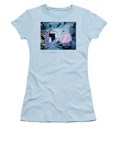 Mystery Girl-cyclops Women's T-Shirt (Junior Cut) featuring the painting Midnight Dream by Tiana Art