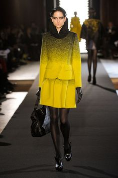 fashion fall trends 2012 style tips with color gradation woven fabrics, Jean Charles Castelbajac Paris show