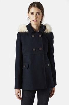 'Lottie' Faux Fur Trim Hooded Coat /