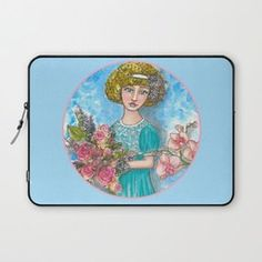 Flora - Vintage Flower Girl Laptop Sleeve... Visit my society6 shop and check out some new products with my artwork. Link: https://society6.com/elenisart  And this Friday you get  FREE SHIPPING on Everything with Code FRIYAY  Start: Friday, 7/20/18 @ 12:00am PT  End: Friday, 7/20/18 @ 11:59pm PT