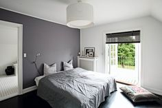 grey walls with white accent wall