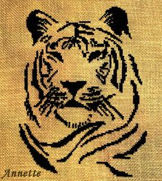 Cross Stitch Pattern Cat Tiger head (silhouette monochrome) designed by me, so you have a unique opportunity to get an exclusive product. The second photo shows the finished embroidery. Her embroidered Annette, and with her kind permission, I provide a photo of the finished embroidery.