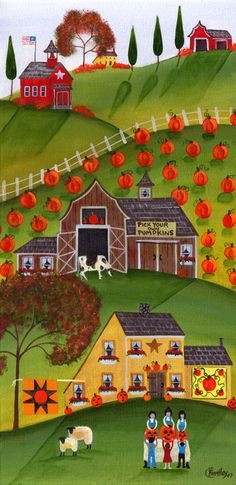 Pick your own Pumpkins with sheep & cow - cherylbartleydesigns