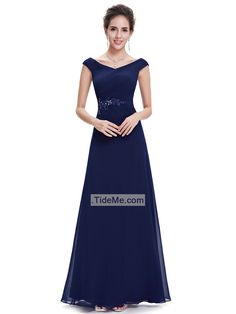 Off Shoulder Blue Chiffon A Line Beaded Lace Appliques Floor Length Long Prom Dress