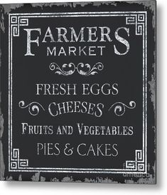 Farmers Market Metal Print by Debbie DeWitt. All metal prints are professionally printed, packaged, and shipped within 3 - 4 business days and delivered ready-to-hang on your wall. Choose from multiple sizes and mounting options. Farmers Market Logo, Vegetable Pie, Cheese Fruit, Aluminium Sheet, Chalkboard Art, Got Print, Fine Art America, Pattern Design, Design Inspiration