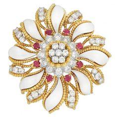 Gold, Platinum, Diamond, Ruby and White Enamel Clip-Brooch, David Webb.