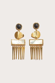 Sculptural and ornate earrings. Swingy metal fringe at ends. Mother-of-pearl and acrylic accents. Post closure. - 18-karat gold plate - Handmade in USA