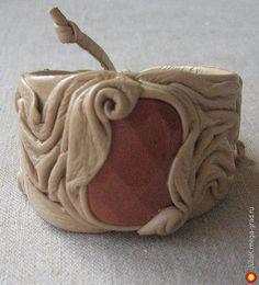 Браслет с авантюрином бежевый - украшения из кожи, авторский браслет. МегаГрад - портал авторской ручной работы