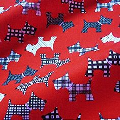 Red Polycotton Fabric with Black & White Scottie Dogs (Per Metre): Amazon.co.uk: Kitchen & Home