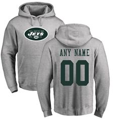 New York Jets NFL Pro Line Personalized Name & Number Logo Pullover Hoodie - Ash