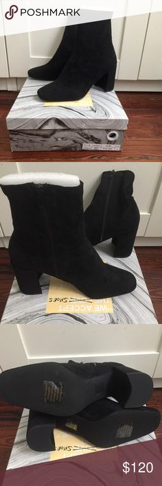 "Jeffrey Campbell Cienega Suede Boots Brand new black suede booties from Jeffrey Campbell. They have a squared toe and zipper entry at the inner ankle with ankle shaft with a slim, contoured cut.  Size - Heel height: 3"" - Shaft height: 5.5"" Jeffrey Campbell Shoes Ankle Boots & Booties"