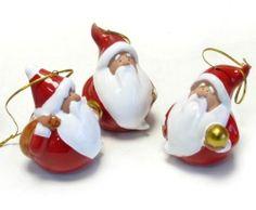 Tolle Weihnachtsdekoration: 12 Keramik-Santa, Weihnachtsmänner zum Anhängen