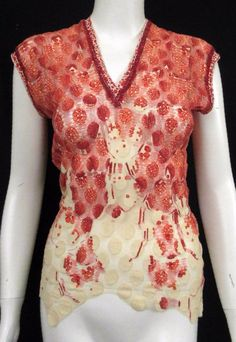 JEAN PAUL GAULTIER VINTAGE RED & IVORY ABSTRACT PRINT MESH TOP SZ M  | eBay