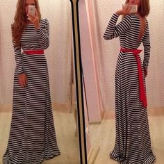 Sexy Backless Long Sleeve Gathered Waist Floor-length Evening Dress