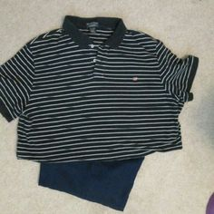Nautical inspired polo type shirt Navy blue and white stripes POLO Jeans Company Tops Tees - Short Sleeve