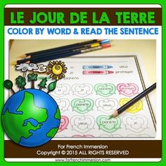 "Earth Day for kids in French - worksheets and a mini-book - JUST PRINT and use to practice ""les mots usuels"""