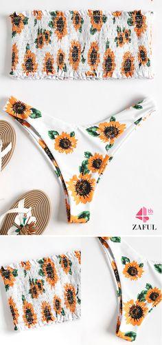 20da16a6bd Strapless Sunflower Smocked Bikini. Floral print throughout