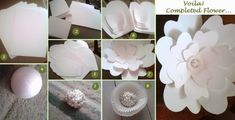 The Beginning of Forever: DIY Large Paper Flower – Dream Events in Paper Large Paper Flowers, Tissue Paper Flowers, Paper Flower Backdrop, Giant Paper Flowers, Diy Flowers, Diy Paper, Paper Crafts, Flower Step By Step, Flower Tutorial