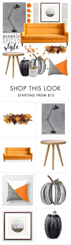 Living - Pumpkin Style by artbyjwp on Polyvore featuring interior, interiors, interior design, home, home decor, interior decorating, Gus* Modern, Allstate Floral, Improvements and Sur La Table