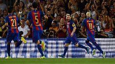 Messi marcó un hat-trick, Suárez dos goles y otro más Neymar