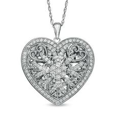 Lab-Created White Sapphire Heart Locket Pendant in Sterling Silver