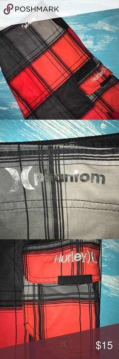 Hurley phantom Boardshorts Like new! Every single person in my family owns the phantom board shorts. Poor some water on them and watch what happens. It just slides right off! When at the lake, they dry in mere minutes! These are used but in great shape! My husband graduated out to a bigger size. No trades and price is firm. Bundle pricing still applies. Hurley Shorts Hybrids