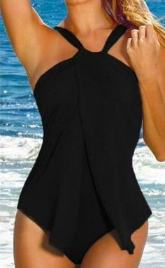 Shop Womens Halter Neck One Piece Padded Tankini Swimsuit Monokini Swimwear Swimdress FBA - Black - and Discover the latest fashion and trends in Women's Swimsuits at Affordable Price. Padded Swimsuits, Monokini Swimsuits, Women's One Piece Swimsuits, Plus Size Swimsuits, Women Swimsuits, Swimsuits 2017, Bikini Swimwear, Bikini Body Guide, Sexy Bikini