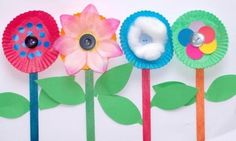 flowers - construction paper, popsicle sticks, cupcake liners
