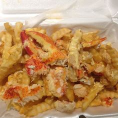 lobster and crab over cheese fries