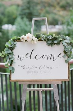 ::: Flowers by Lace and Lilies ::: Garden wedding Colorado Air Plant Protea Fall Green Muted Pastel Romantic Floral Soft Eucalyptus Monochromatic Modern White Blush Sign Flowers Garland Calligraphy Blushing Bride Rose Welcome sign Wedding Welcome Signs, Bridal Shower Welcome Sign, Bridal Shower Signs, Wedding Signage, Wedding Entrance, Wedding Programs, Perfect Wedding, Wedding Day, Trendy Wedding