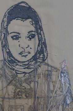 Candlelight Protest, Amritsar, India (detail). Sophie Strong, embroidery artist