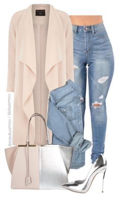 """Denim x Blush x Metals"" by efiaeemnxo ❤ liked on Polyvore featuring Dorothy Perkins, Fendi, Casadei, sbemnxo and styledbyemnxo"