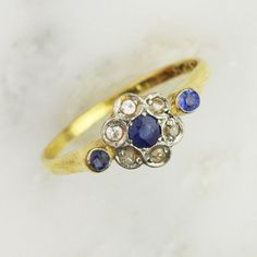 #jewelry Art Deco Gold Sapphire and Diamond Cluster Ring - 18k Yellow Gold and Platinum please retweet