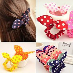 Free Shipping 10Pcs/Lot Fashion Hair Band Polka Dot Elastic Hair Rope Ponytail Holder Rabbit Ears Hair Tie Girl Hair Accessory-inHair Accessories from Women's Clothing & Accessories on Aliexpress.com | Alibaba Group