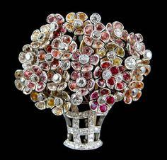 White Gold Multi-Color Sapphire Brooch - Yafa Jewelry