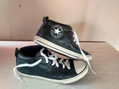 Converse All Star Chuck Taylor High Street Top Mens 6 Womens 8 Black Leather  #Converse #Athletic