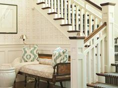 Foyer Bench - Design photos, ideas and inspiration. Amazing gallery of interior design and decorating ideas of Foyer Bench in kitchens, entrances/foyers by elite interior designers. Entry Stairs, Entrance Foyer, Entry Hallway, Front Stairs, Front Entry, Foyer Design, House Design, Railing Design, Foyer Bench