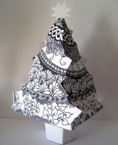 Christmas Tree by Zeninking Tangle Doodle, Tangle Art, Doodles Zentangles, Zen Doodle, Zentangle Patterns, Doodle Art, 3d Christmas Tree, Christmas Doodles, Childrens Christmas