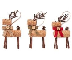 Adorn your holiday décor with the help of rustic cork deer ornaments!