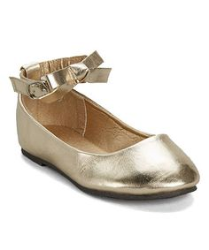 Love this Gold Bow Ankle-Strap Flat on #zulily! #zulilyfinds